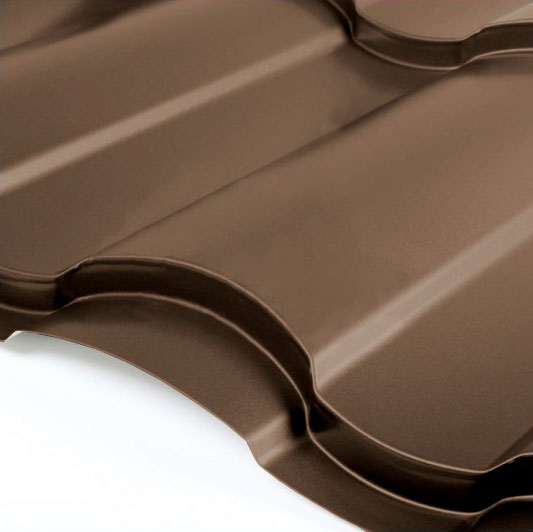 Металлочерепица Grand Line Country Granite HDX 0.5 Тёмно-коричневый