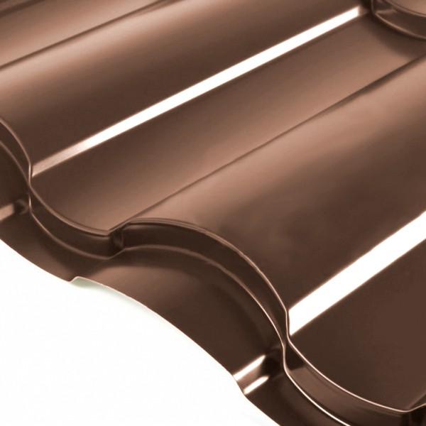 Металлочерепица Grand Line Country PE 0.5 Тёмно-коричневый