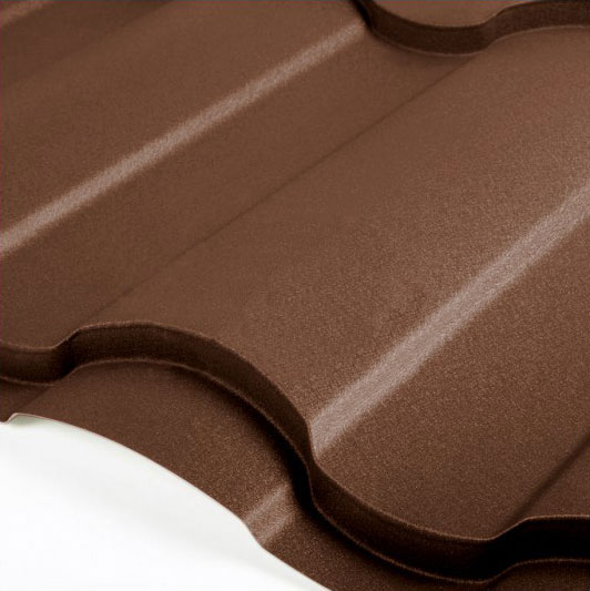 Металлочерепица Grand Line Country Velur 0.5 Тёмно-коричневый